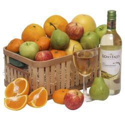 Fruit basket with wine