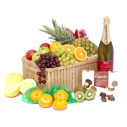 Fruit with fizz & chocolates