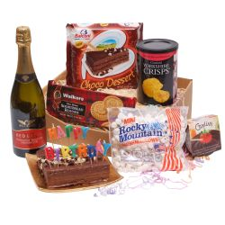 birthday tea hamper with bubbly