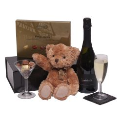Sparkling wine & teddy bear